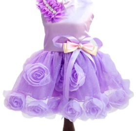 SMALLLEE_LUCKY_STORE Pet Small Dog Puppy Cat Clothes Coat Wedding Costume Satin Rose Formal Dress Tutu