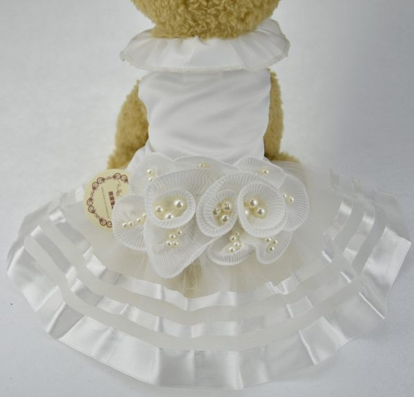 White Pearl Flower Dog Puppy Luxury Bow Dress Pet Cat Tutu Skirt Princess Wedding Dress Dog Chihuahua Clothes Bride Costume