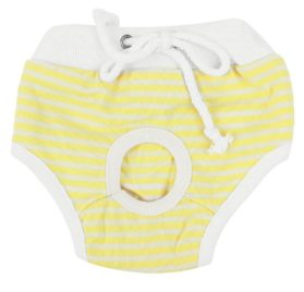 uxcell Stripes Pattern Adjustable Pet Dog Waist Diaper Pants XS White Yellow