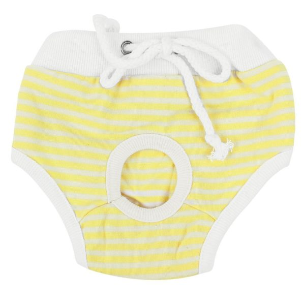 uxcell Stripes Pattern Adjustable Pet Dog Waist Diaper Pants XS White Yellow