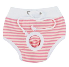 uxcell Stripes Pattern Pet Dog Drawstring Waist Diaper Pants Underwear S White Pink