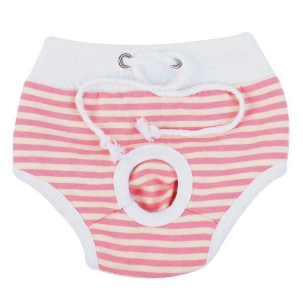 uxcell Stripes Pattern Pet Dog Drawstring Waist Diaper Pants Underwear S White Pink