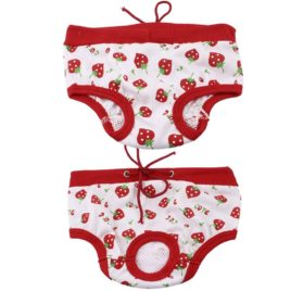 uxcell White Red Strawberry Printed Drawstring Pet Dog Waist Diaper Pants S