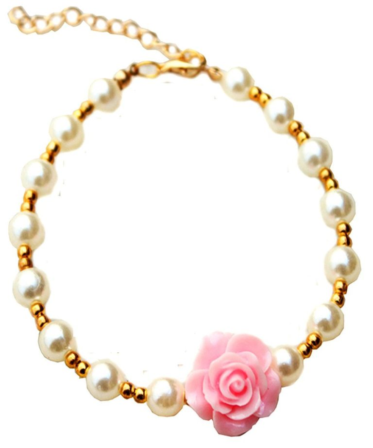 3 sizes 4 colors Handmade Cat Dog Necklace Jewelry with Bling Pearls Gorgeous Rose Flower Charms for Pets