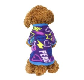 Idepet Pet Dog Cat Clothes Graffiti Style Soft Fleece Sweater Shirt Coat for Small dog Puppy Teddy Chihuahua Poodle Boys Girls