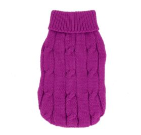 Uxcell Twisted Knit Ribbed Cuff Pet Warm Apparel Sweater, XX-Small, Fuchsia