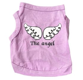 Vodeus Small Dog Clothes Pet T-Shirt The Angel Purple and T-Shirt Lil Angel Blue Set of 2 Pcs 2