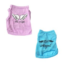 Vodeus Small Dog Clothes Pet T-Shirt The Angel Purple and T-Shirt Lil Angel Blue Set of 2 Pcs