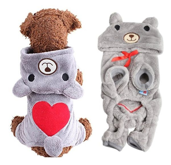 Dog Outfits, FuzzyGreen Cute Bear Costume Jumpsuit Hoodie Clothes Apparel for Dog Puppy Pet (XS, Grey)
