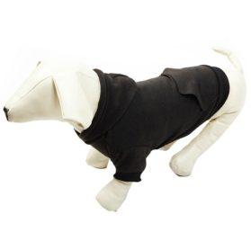 Pet Black L Dog Fleece Coat Sweater Jumpsuit Puppy Cat Hoodie Sweatshirt Clothes Apparel with Pockets