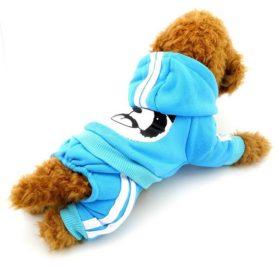 SELMAI Fleece Dog Coat Pattern Bear Small Puppy Chihuahua Clothes Dog Sweatshirts Blue XS