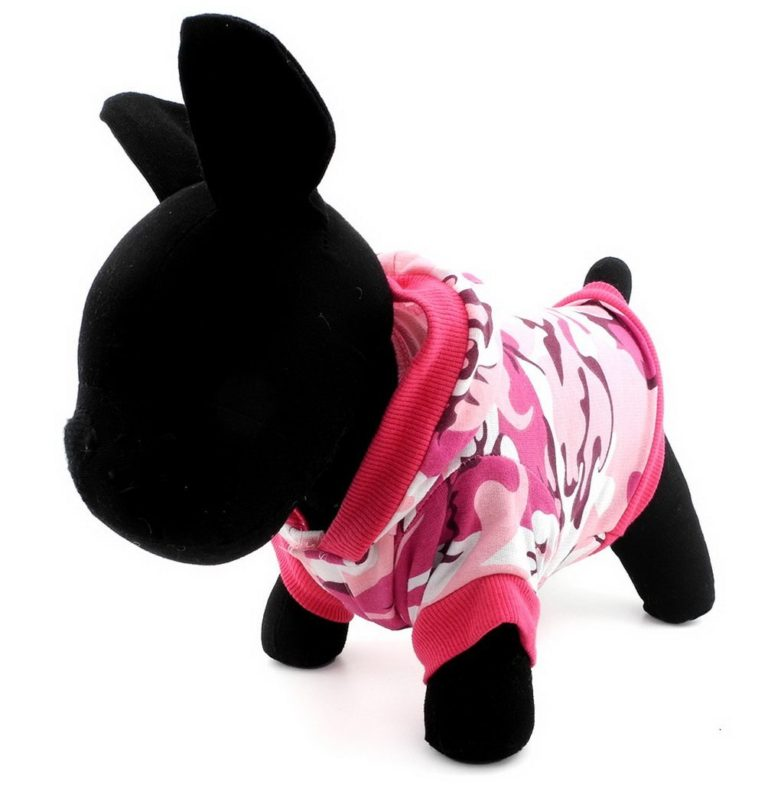 SELMAI Pet Camo Hoodies Dog Camouflage Print Hoodie Shirt for Small Dog Cat Puppy Pink