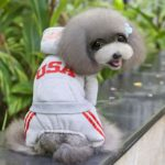 SELMAI USA Dog Jumpsuit Four-leg Pet Hoodies Puppy Coat Doggie Jacket Warm Clothes with Pants for Small Dogs Gray S 2