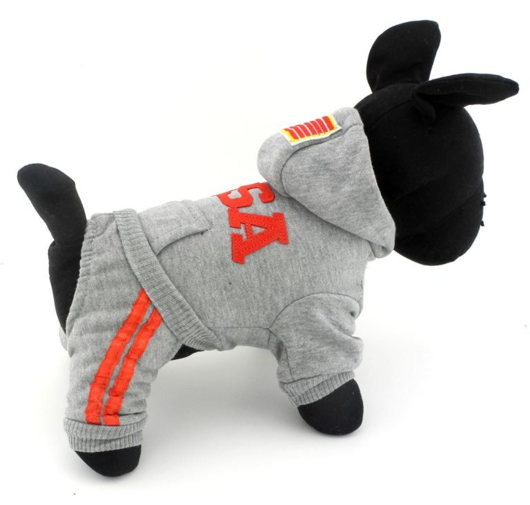 SELMAI USA Dog Jumpsuit Four-leg Pet Hoodies Puppy Coat Doggie Jacket Warm Clothes with Pants for Small Dogs Gray S