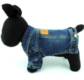 SMALLLEE_LUCKY_STORE Pet Small Dog Cat Clothes Classic Denim Jacket Coat Male Costume Blue S 2