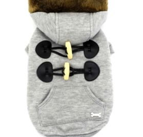 SMALLLEE_LUCKY_STORE Pet Small Dog Cat Clothes Fleece Horns Hoodie Jacket Hooded Coat Grey S