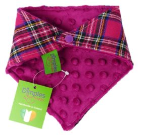 Dimples Dog Bandana - Pink Tartan (handmade for all sizes and breeds) 2