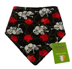 Dimples Dog Bandana - Roses & Skulls (handmade for all sizes and breeds)