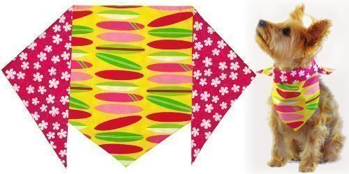 Girl's Pink Surfboard Bandana for Dogs (S) Ties on 9 - 10 neck