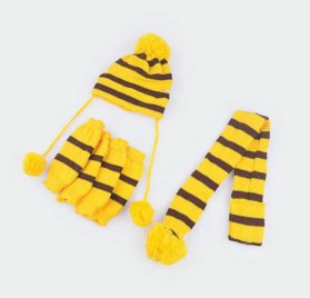 Infinal 3PC-Set Winter Warm Stripe Knitted Pet Dog Hat+Scarf+Socks Puppy Costume Clothes 2