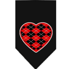 Mirage Pet Products Argyle Heart Red Screen Print Bandana for Pets, Small, Black