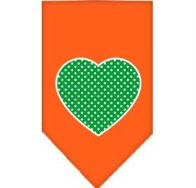 Mirage Pet Products Green Swiss Dot Heart Screen Print Bandana for Pets, Small, Orange