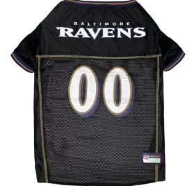 NFL PET JERSEY Football Licensed Dog Jersey 32 NFL Teams Available Comes in 6 Sizes Football Pet Jersey Sports Mesh Jersey Dog Jersey Outfit (Baltimore Ravens)