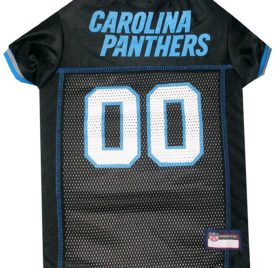 NFL PET JERSEY Football Licensed Dog Jersey 32 NFL Teams Available Comes in 6 Sizes Football Pet Jersey Sports Mesh Jersey Dog Jersey Outfit (Carolina Panthers)