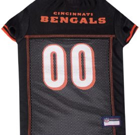 NFL PET JERSEY Football Licensed Dog Jersey 32 NFL Teams Available Comes in 6 Sizes Football Pet Jersey Sports Mesh Jersey Dog Jersey Outfit (Cincinnati Bengals)
