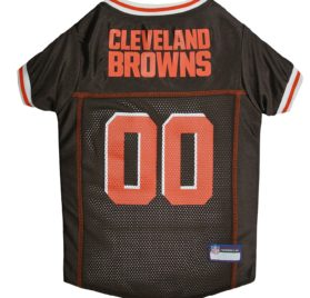 NFL PET JERSEY Football Licensed Dog Jersey 32 NFL Teams Available Comes in 6 Sizes Football Pet Jersey Sports Mesh Jersey Dog Jersey Outfit (Cleveland Browns)