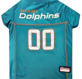 NFL PET JERSEY Football Licensed Dog Jersey 32 NFL Teams Available Comes in 6 Sizes Football Pet Jersey Sports Mesh Jersey Dog Jersey Outfit (Miami Dolphins)