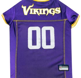 NFL PET JERSEY Football Licensed Dog Jersey 32 NFL Teams Available Comes in 6 Sizes Football Pet Jersey Sports Mesh Jersey Dog Jersey Outfit (Minnesota Vikings)