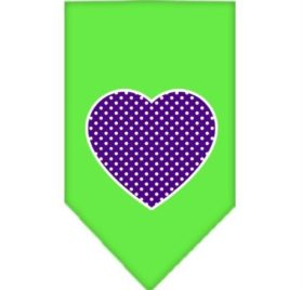 Purple Swiss Dot Heart Screen Print Dog Bandanas