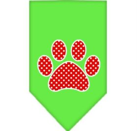 Red Swiss Dot Paw Screen Print Dog Bandanas