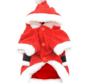 SMALLLEE_LUCKY_STORE Pet Small Dog Cat Clothes Fleece Santa Claus Costume Chirstmas Xmas Dress Up Red 2