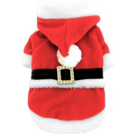 SMALLLEE_LUCKY_STORE Pet Small Dog Cat Clothes Fleece Santa Claus Costume Chirstmas Xmas Dress Up Red