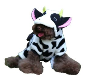 ARJOSA Puppy Dog Pet Halloween Costume Cow Jumpsuit Hoodie Clothes 2