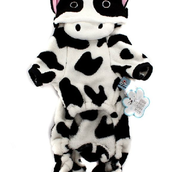 ARJOSA Puppy Dog Pet Halloween Costume Cow Jumpsuit Hoodie Clothes