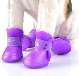BUYITNOW Dog Rain Boots for Small Dog Waterproof Anti Slip Soft Soles Pet Shoes 4pcs 2
