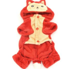 PETLOVE Pet Apparel Small Dog Cat Clothes Winter Fleece Little Fox Halloween Costume Party Clothing Red 2