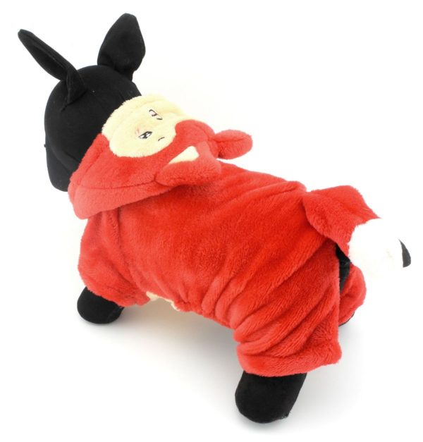 PETLOVE Pet Apparel Small Dog Cat Clothes Winter Fleece Little Fox Halloween Costume Party Clothing Red