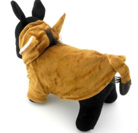 PETLOVE Pet Clothes Apparel for Small Dogs Cats Fleece Horse Costume with Hood Jacket Coat Halloween Clothing Brown 2
