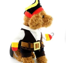 SELMAI Pet Cat Dog under 20 pounds Small Dog Pirate Costume Coat with Adjustable Hat 2