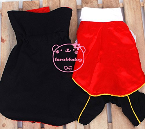 SMALLLEE_LUCKY_STORE Cat Dog Clothes Black Red Vampire Jumpsuit Cloak Coat Costume Small Dog Clothes