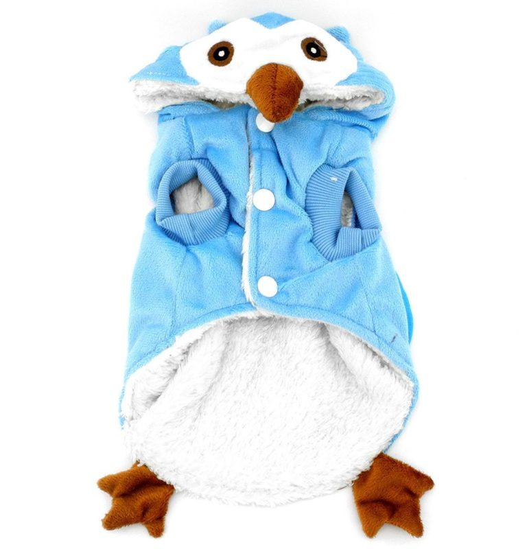 SMALLLEE_LUCKY_STORE Dog Cat Fleece Owl Costume Pajamas Puppy Winter Coat for Small Dog under 20lbs