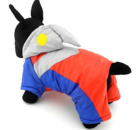 SMALLLEE_LUCKY_STORE Pet Clothes for Small Dog Cat Ultraman Costume with Hood Padded Jacket Coat Halloween Clothing 2