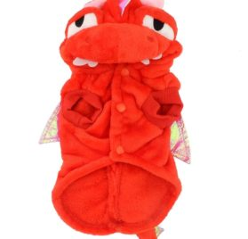 SMALLLEE_LUCKY_STORE Pet Dog Cat Flying Dragon Dinosaur Costume Velvet Coat 2
