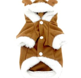 SMALLLEE_LUCKY_STORE Pet Small Dog Cat Clothes Fleece Reindeer Costume Halloween Dress Up Khaki 2