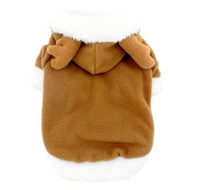 SMALLLEE_LUCKY_STORE Pet Small Dog Cat Clothes Fleece Reindeer Costume Halloween Dress Up Khaki