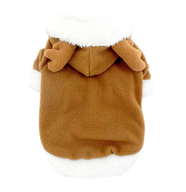 SMALLLEE_LUCKY_STORE Pet Small Dog Cat Clothes Fleece Reindeer Costume Halloween Dress Up Khaki